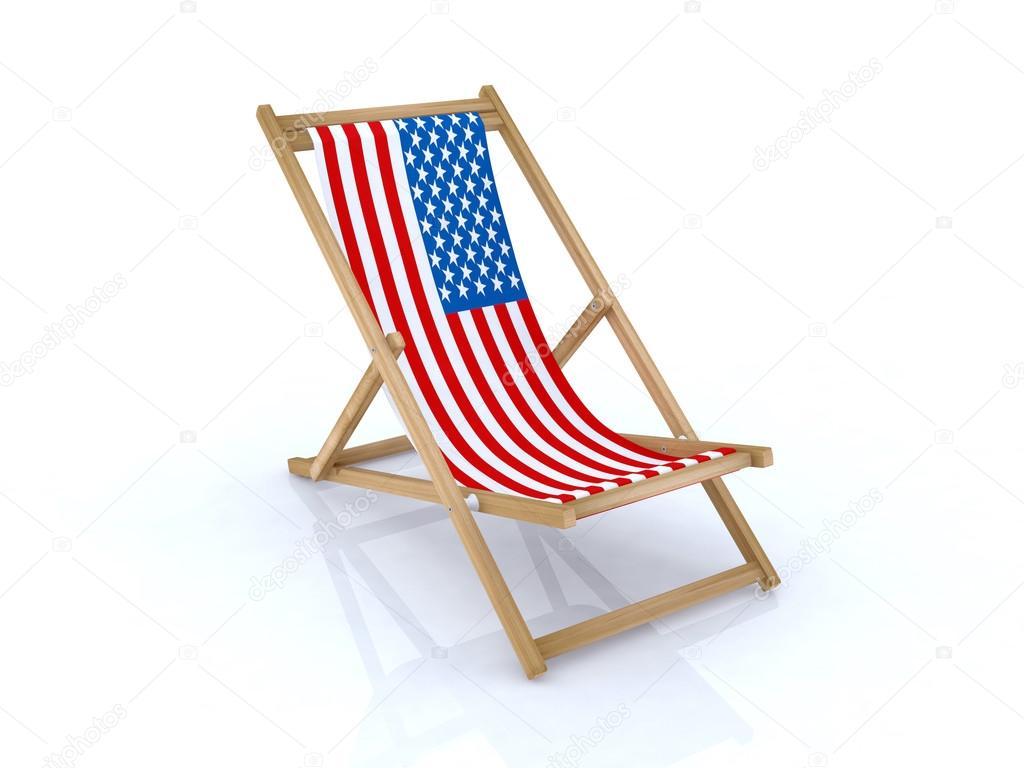 holz liegestuhl mit amerikanische flagge stockfoto 18035483. Black Bedroom Furniture Sets. Home Design Ideas
