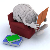 Brain organ reading a book from the couch — Stock Photo