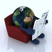 Earth reading a newspaper from the couch — Stock Photo