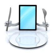 Tablet pc con las manos y utensilios — Foto de Stock