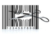 Bar code with 3d scissors that cut — Stock Photo