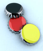 Black/red/yellow (german flag) metal cap — Stock Photo