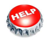 Red metal cap help — Stock Photo