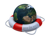 Earth globe in lifebuoy over white — Stock Photo