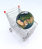 World on the shopping cart — Stock Photo