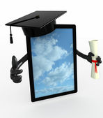 Tablet pc with arms, Graduation Cap and Diploma — Stock Photo