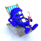 Euro sign above beach chair — Stock Photo