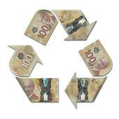 Recycle символ с канадских долларов — Стоковое фото