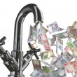 Stock Photo: Tap water with rupee banknotes