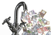 Tap water with rupee banknotes — Stock Photo