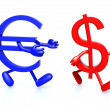 Euro and dollar symbol running — Stock Photo
