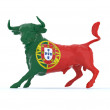 Portuguese bull with flag - Stock Photo