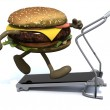 Burger with arms and legs on a running machine — Stock Photo