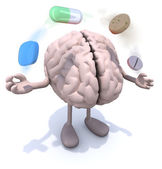 Brain with arms and legs and big pills in the air — Stock Photo