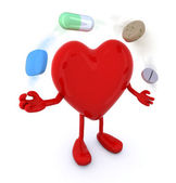 Heart with arms and legs and big pills — Stock Photo