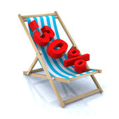 Beach chair with 30 percent sales — Stock Photo