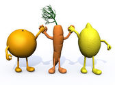 Orange, carrot and lemon with arms and legs — Stock Photo