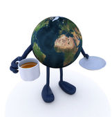 Planet earth with arms and legs and cup of coffee — Stock Photo