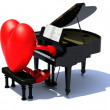 Heart with arms and legs playing a piano — Stockfoto
