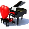 Heart with arms and legs playing a piano — Stock fotografie