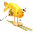 Gold fish with arms and legs, ski and stick — Stock Photo