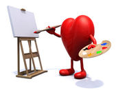Heart with arms and legs painter — Stock Photo
