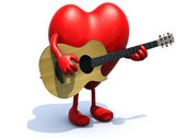 Heart with arms and legs playing a guitar — Stock Photo