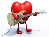 Heart with arms and legs playing electric guitar — Stock Photo
