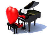 Heart with arms and legs playing a piano — Stock Photo