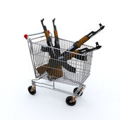 Shopping cart loaded with the kalashnicov for purchase — Stock Photo