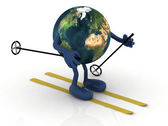 Planet earth with arms and legs, ski and stick — Stock Photo