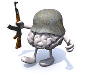 Human brain with arms and legs, german helmet and rifle — Stock Photo