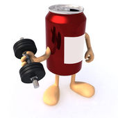 Tin can with arms and weight — Stock Photo