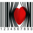 Stock Photo: Heart that gets out from bar code