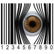 Stock Photo: Eyeball that gets out from bar code
