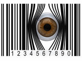 Eyeball that gets out from a bar code — Stock Photo
