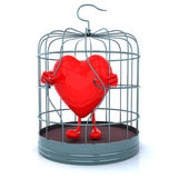 Red heart that gets out from cage — Stock Photo