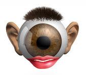 Eyeball with ears, lips and hair — Stock Photo