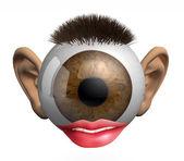 Eyeball with ears, lips and hair — Stock Photo