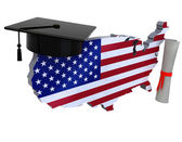 United states maps with Graduation Cap and Diploma — Stock Photo