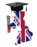 England maps with Graduation Cap and Diploma — Stok fotoğraf