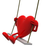 Heart with arms and legs on a swing — Stock Photo
