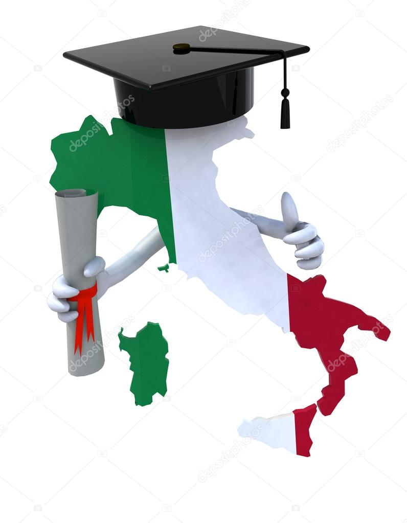 Italy maps with Graduation Cap and Diploma — Stock Photo ...