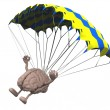 Brain that is landing with parachute — Stock Photo
