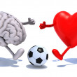 Brain and heart with his arms and legs running to a soccer ball — Stock Photo