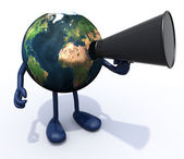 Earth with arms, legs, mouth that shout into loudhailer — Stock Photo