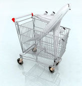 Airplane on the shopping cart — Stock Photo