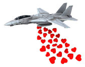 Warplane launching hearts instead of bombs — Stockfoto