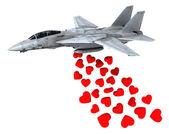 Warplane uruchomienie serca zamiast bomby — Zdjęcie stockowe