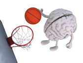 Brain with his arms and legs playing basketball — Stock Photo